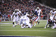 Ole Miss quarterback Bo Wallace (14) vs. Vanderbilt safety Kenny Ladler (1) at Vaught-Hemingway Stadium in Oxford, Miss. on Saturday, November 10, 2012.