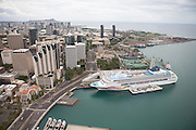 View of a cruise ship docked in Honolulu Harbor