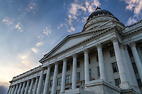 The Utah State Capitol building in Salt Lake City showing its dramatic architecture against an early Summer sky.