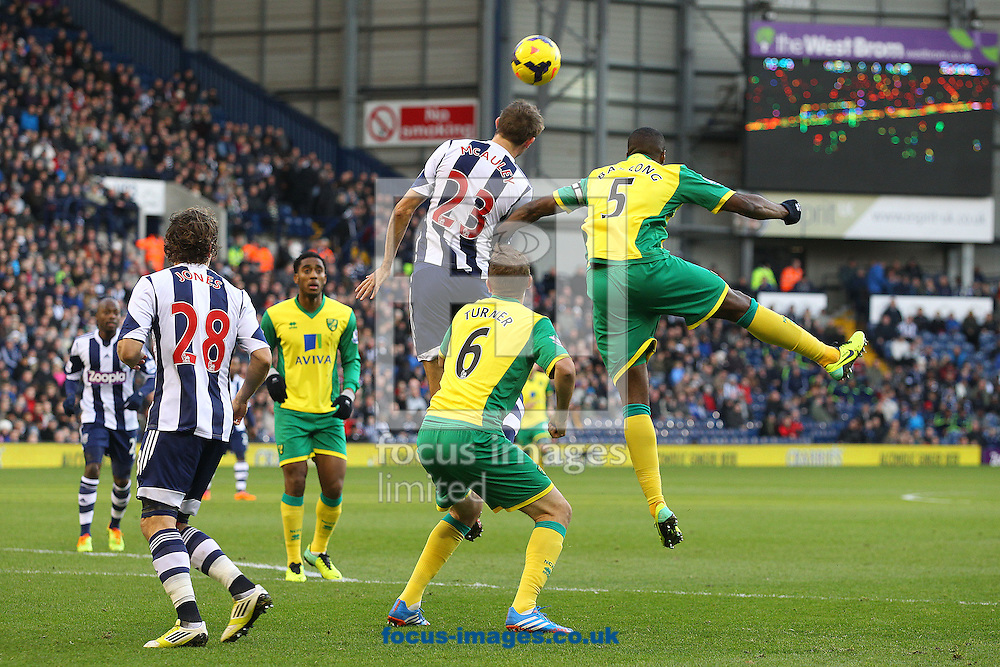 Picture by Paul Chesterton/Focus Images Ltd +44 7904 640267<br /> 07/12/2013<br /> Gareth McAuley of West Brom heads clear during the Barclays Premier League match at The Hawthorns, West Bromwich.