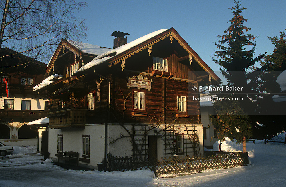 A traditional alpine chalet in the Austrian ski resort of Altenmarkt
