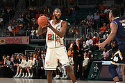 January 12, 2017: Davon Reed #5 of Miami in action during the NCAA basketball game between the Miami Hurricanes and the Notre Dame Fighting Irish in Coral Gables, Florida. The Irish defeated the 'Canes 67-62.