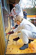 21-3-2014 RIJSWIJK - King Willem Alexander and Queen Maxima helps at a Childrens Farm Het akkertje during NL DOET volunteers day. netherlands  COPYRIGHT ROBIN UTRECHT