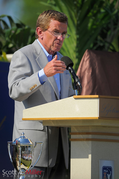 PGA Tour commissioner Tim Finchem speaks during a ceremony honoring Jack Nicklaus with a  lifetime achievement award prior to the start of the Players Championship at TPC Sawgrass on May 7, 2008 in Ponte Vedra Beach, Florida.     © 2008 Scott A. Miller
