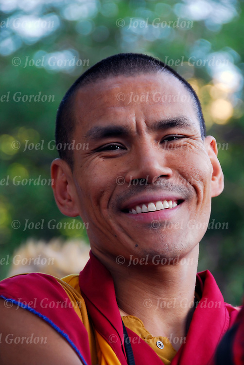 Portrait of smiling Buddhist Monk in New York City