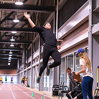 Joy Becker in action during the Cougars Track&Field Intersquad on November 19 at Centre for Kinesiology, Health and Sport. Credit: Arthur Ward/Arthur Images