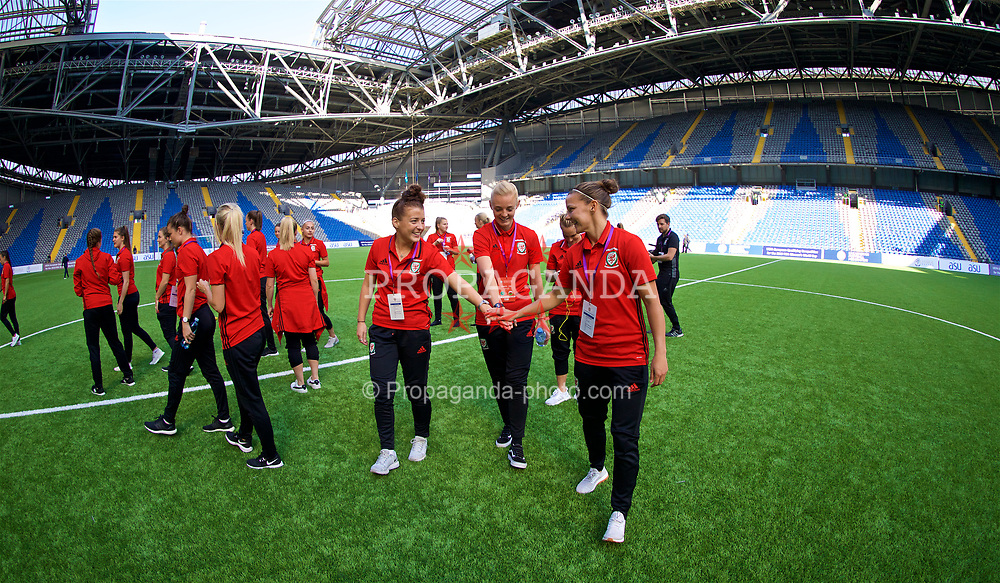 ASTANA, KAZAKHSTAN - Sunday, September 17, 2017: Wales' Angharad James, captain Sophie Ingle, Loren Dykes during the FIFA Women's World Cup 2019 Qualifying Round Group 1 match between Kazakhstan and Wales at the Astana Arena. (Pic by David Rawcliffe/Propaganda)