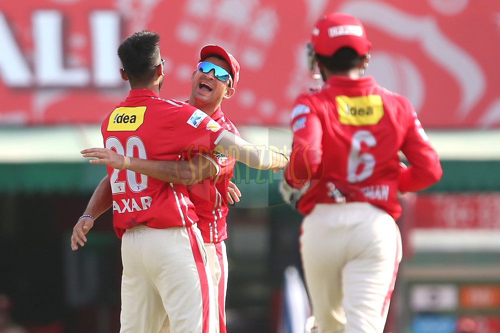 Akshar Patel of Kings XI Punjab is congratulated by Mohit Sharma of Kings XI Punjab for bowling Delhi Daredevils captain Karun Nair during match 36 of the Vivo 2017 Indian Premier League between the Kings XI Punjab and the Delhi Daredevils held at the Punjab Cricket Association IS Bindra Stadium in Mohali, India on the 30th April 2017<br /> <br /> Photo by Shaun Roy - Sportzpics - IPL