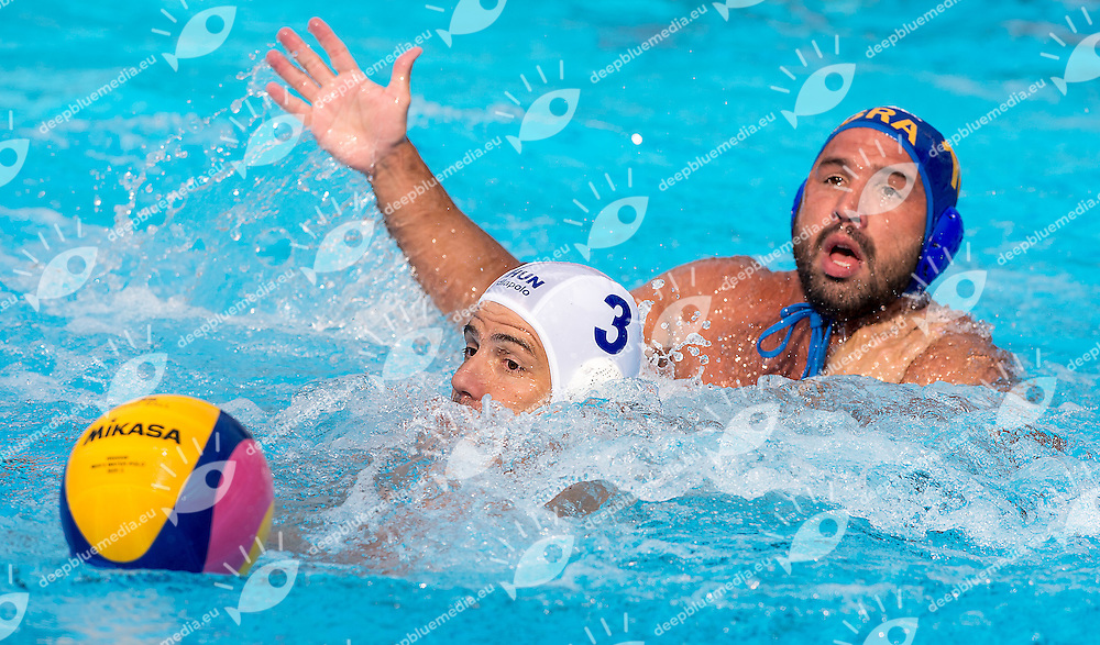 3 MADARAS Norbert HUN 10 PERRONE Felipe BRA<br /> Hungary HUN (white) - Brazil BRA  (blue)<br /> day 03 - 25/06/2015<br /> FINA Water Polo World League Superfinal Men<br /> Bergamo (ITA) 23-28 June 2015<br /> Photo G.Scala/Deepbluemedia