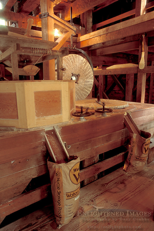 Wooden Interior and grinding stone, c.1870, Bale Grist Mill State Historic Park, near Calistoga, Napa Valley Wine Country, California