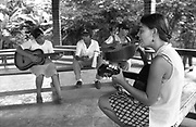 Young people's music lesson led by UK based Katherine Rogers, founder of the Music for Hope solidarity project. <br /> Amando Lopez, Bajo Lempa, El Salvador.1999