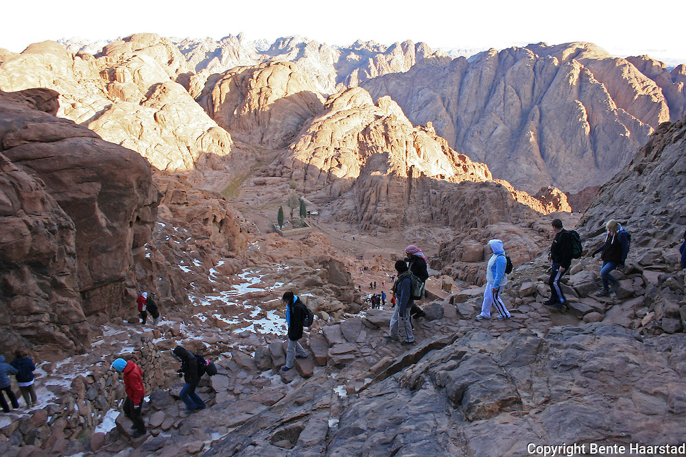 "Jebel Musa is Arabic for ""the mountain of Moses."" The mountain is ascended by 3700 steps carved by a monk (the ""steps of repentance""). The path leads past the ""Spring of Moses"" and a chapel dedicated to the Virgin Mary. Closer to the summit is the ""Spring of Elijah""."