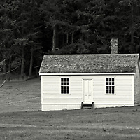 A small wooden house.English Camp, San Juan Island,Washington state USA