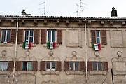 Casale Monferrato, Italy, feb.2010. Flags with Eternit-giustizia-Eternit-Justice.
