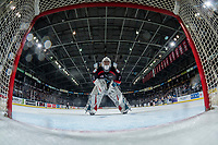 KELOWNA, CANADA - DECEMBER 1:  James Porter #1 of the Kelowna Rockets skates to the net against the Saskatoon Blades on December 1, 2018 at Prospera Place in Kelowna, British Columbia, Canada.  (Photo by Marissa Baecker/Shoot the Breeze)