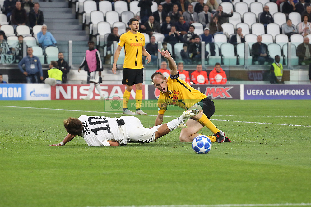 October 2, 2018 - Turin, Piedmont, Italy - Paulo Dybala (Juventus FC)  and Von Bergen (Berner Sport Club Young Boys) compete for the ball during the Juventus FC UEFA Champions League match between Juventus FC and Berner Sport Club Young Boys at Allianz Stadium on October 02, 2018 in Turin, Italy..Juventus won 3-0 over Young Boys. (Credit Image: © Massimiliano Ferraro/NurPhoto/ZUMA Press)