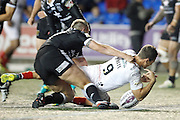 Widnes' Lloyd White gets over the line but drops the ball before he gets it down during the Super 8s Round 2 match between Widnes Vikings and Hull FC at the Select Security Stadium, Halton, United Kingdom on 11 August 2016. Photo by Craig Galloway.