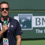 March 7, 2015, Indian Wells, California:<br /> Emcee Andrew Krasny speaks during Kids Day at the Indian Wells Tennis Garden in Indian Wells, California Saturday, March 7, 2015.<br /> (Photo by Billie Weiss/BNP Paribas Open)