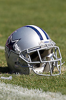 18 September 2011: A Dallas Cowboys helmet sits on the field before the Cowboys 27-24 overtime victory against the 49ers in an NFL football game at Candlestick Park in San Francisco, CA