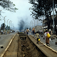 Goma Democrati Republic of Congo - Street in Goma . Kibumba refugee camp, this camp contained over 250,000 people. The Rwandan refugee crisis put severe pressure on the park. Nearly 1 million refugees were camped in the area around Goma and surrounding the park. ©Jean-Michel Clajot