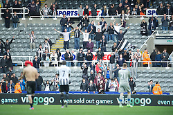 27.04.2013, St. James Park, Newcastle, ENG, Premier League, Newcastle United vs FC Liverpool, 35. Runde, im Bild A handful of Newcastle United supporters stay behind to applaud goalkeeper Rob Elliot after their side's 6-0 defeat to Liverpool during during the English Premier League 35th round match between Newcastle United and Liverpool FC at the St. James Park, Newcastle, Great Britain on 2013/04/27. EXPA Pictures © 2013, PhotoCredit: EXPA/ Propagandaphoto/ David Rawcliffe..***** ATTENTION - OUT OF ENG, GBR, UK *****