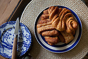 Franzbrötchen Hamburg-style French cinnamon buns at the Hollmann Sturm family in Hamburg, Germany. The family was photographed for the Hungry Planet: What I Eat project with a week's worth of food. Model Released.