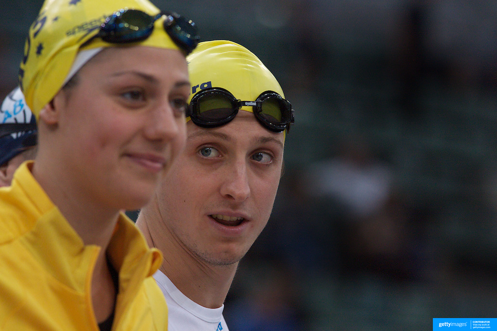 Stephanie Rice (left) and Nick D'Arcy during the Skins meet directly after the Australian Swimming Championships and Selection Trials for the XIII Fina World Championships held at Sydney Olympic Park Aquatic Centre, Sydney, Australia on March 24, 2009. Photo Tim Clayton