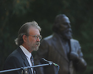 Sculptor Bill Beckwith at the dedication of the LQC Lamar statue at the LQC Lamar House in Oxford, Miss. on Saturday, October 9, 2010.