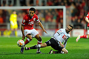 Bristol City midfielder Korey Smith and Derby County forward Andreas Weimann during the Sky Bet Championship match between Bristol City and Derby County at Ashton Gate, Bristol, England on 19 April 2016. Photo by Graham Hunt.