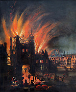 The Great Fire of London, 2-5 September 1666.   On left people are saving what they can from a burning building.  In the middle distance on right Old St Paul's Cathedral is in flames. Anonymous painting c1670. England Destruction