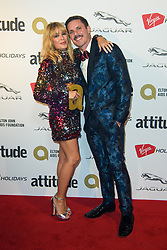 Kylie Minogue and Jake Shears pictured backstage at the Attitude Awards, where she won won the Legend award, at the Roundhouse in North London. Picture date: Thursday October 12th, 2017. Photo credit should read: Matt Crossick/ EMPICS Entertainment.