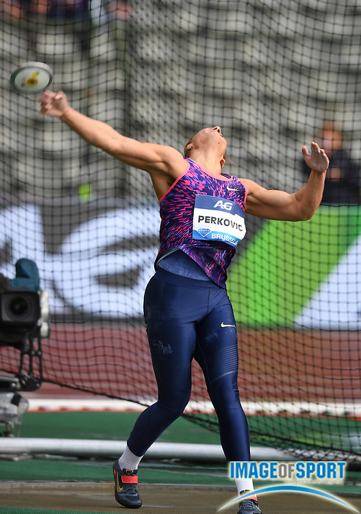 Sandra Perkovic (CRO) wins the women's discus with a throw of 225-9 (68.82m) during the 42nd Memorial Van Damme in an IAAF Diamond League meet at King Baudouin Stadium in Brussels, Belgium on Friday, September 1, 2017. (Jiro Mochizuki/Image of Sport)