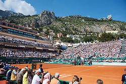 MONTE-CARLO, MONACO - Sunday, April 18, 2010: A ganeral view of centre coirt as Rafael Nadal (ESP) takes on Fernando Verdasco (ESP) during the Men's Singles Final on day seven of the ATP Masters Series Monte-Carlo at the Monte-Carlo Country Club. (Photo by David Rawcliffe/Propaganda)