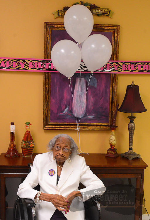 Gary Cosby Jr./Decatur Daily     Lucy Ford celebrates her 106th birthday at Decatur Health and Rehab Monday with family and residents.