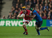 Milton Keynes, Great Britain,  Richard THORPE, tackled by Thierry DUSAUTOIR, during the Pool D Game, France vs Canada.  2015 Rugby World Cup, Venue, StadiumMK, Milton Keynes, ENGLAND.  Thursday  01/10/2015<br /> Mandatory Credit; Peter Spurrier/Intersport-images]