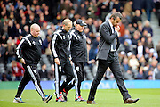 Fulham head coach, Slavisa Jokanovic walking off not looking happy during the Sky Bet Championship match between Fulham and Cardiff City at Craven Cottage, London, England on 9 April 2016. Photo by Matthew Redman.