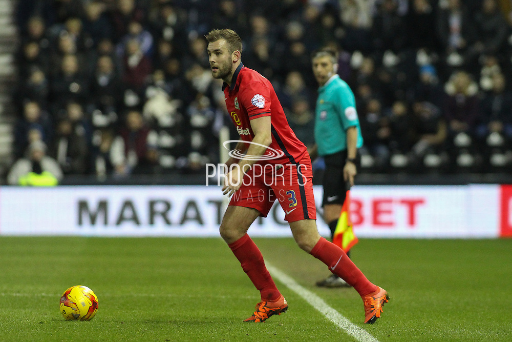 Blackburn Rovers defender Tommy Spurr looks for a pass during the Sky Bet Championship match between Derby County and Blackburn Rovers at the iPro Stadium, Derby, England on 24 February 2016. Photo by Aaron  Lupton.