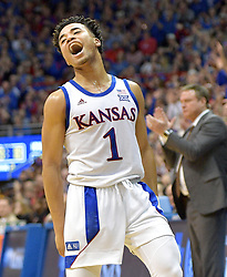 Feb 17, 2020; Lawrence, Kansas, USA; Kansas Jayhawks guard Devon Dotson (1) celebrates after scoring a three point basket during the second half against the Iowa State Cyclones at Allen Fieldhouse. Mandatory Credit: Denny Medley-USA TODAY Sports