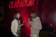 Pippa Roe and Hayley Pattison. Glamour magazine launch party. Red Cube. 6 March 2001. © Copyright Photograph by Dafydd Jones 66 Stockwell Park Rd. London SW9 0DA Tel 020 7733 0108 www.dafjones.com