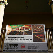 PUERTO RICO -- JANUARY  10, 2018: A sign outside the University of Puerto Rico Theater mentions emergency rehabilitation work, on January 10 2018 in Rio Piedras, Puerto Rico.  The theater was the venue selected for the run of Hamilton but was replaced at the last minute due to security concerns.  <br /> (Angel Valentin / For The Times)