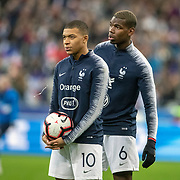 PARIS, FRANCE - March 25:  Kylian Mbappé #10 of France and Paul Pogba #6 of France warming up with team-mates before the France V Iceland, 2020 European Championship Qualifying, Group Stage at  Stade de France on March 25th 2019 in Paris, France (Photo by Tim Clayton/Corbis via Getty Images)
