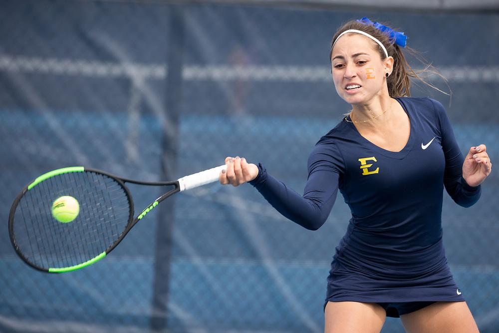 April 6, 2018 - Johnson City, Tennessee - Dave Mullins Tennis Complex: Alory Pereira<br /> <br /> Image Credit: Dakota Hamilton/ETSU