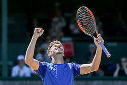 July 20, 2018 - Newport, RI, U.S. - NEWPORT, RI - JULY 20: Marcel Granollers (SPA) celebrates his quarterfinal win over Adrian Mannarino (FRA) at the Dell Technologies Hall of Fame Open at the International Tennis Hall of Fame in Newport, Rhode Island on July 20, 2018. Granollers won the match 6-3, 6-1 and advanced to the semifinals. (Photo by Andrew Snook/Icon Sportswire) (Credit Image: © Andrew Snook/Icon SMI via ZUMA Press)