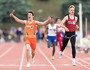 Ogallala anchor leg Max Lindgren celebrates after competing in the boys Class C 1,600-meter relay during the NSAA state track and field championships at Burke Stadium on Saturday, May 20, 2017, in Omaha.<br /> <br /> MATT DIXON/THE WORLD-HERALD