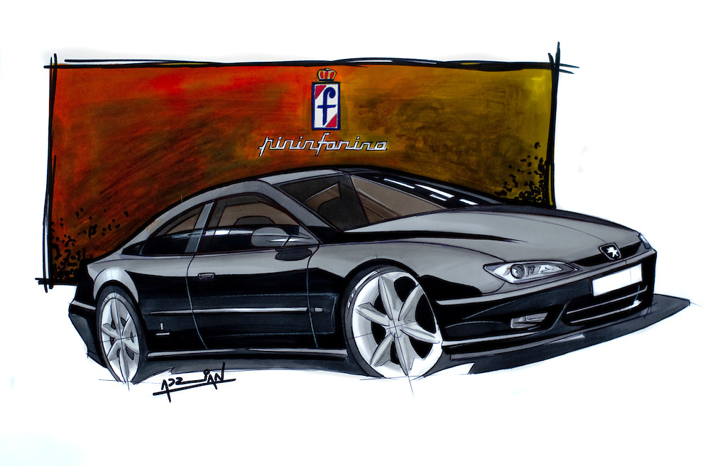 the beautiful Peugeot 406 coupe by pinifarina. car art marker drawing by Adrian Dewey using letraset tria markers
