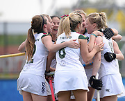 Surbiton's Holie Webb is congratulated after scoring the winning goal against SPV Complutense during their opening game of the EHCC 2017 at Den Bosch HC, The Netherlands, 2nd June 2017