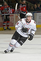 KELOWNA, CANADA, NOVEMBER 9: Brooks Maxwell #19 of the Red Deer Rebels skates on the ice as the Red Deer Rebels visit the Kelowna Rockets  on November 9, 2011 at Prospera Place in Kelowna, British Columbia, Canada (Photo by Marissa Baecker/Shoot the Breeze) *** Local Caption ***