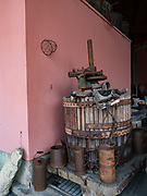 Antique press & winery tools at Argiolas