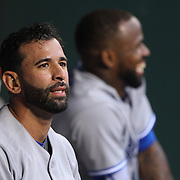 Jose Bautista, (left) and Jose Reyes, Toronto Blue Jays, in the dugout during the New York Mets Vs Toronto Blue Jays MLB regular season baseball game at Citi Field, Queens, New York. USA. 15th June 2015. Photo Tim Clayton
