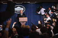 Secretary of State George Shultz makes a statement in the White House press briefing room in October 1984<br /> <br /> Photo by Dennis Brack
